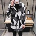 New 2016 winter england style fashion color blocked plaid wool coat men trench coat men sobretudo wool & blendssize m-xl NDY20