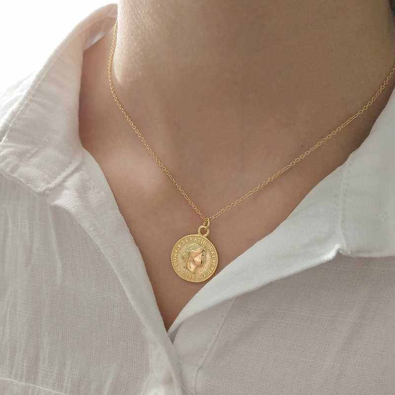 8454ba8b6b1 Detail Feedback Questions about SHUANGR Gold Silver Color Round Coin Pendant  Necklace for Women Simple Portrait Charm Necklace Dainty Luxury Jewelry  Gift on ...
