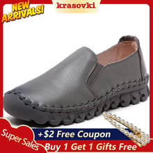 Krasovki high quality soft women flats genuine leather lady loafers slip on shoes summer autumn fall breathable solid