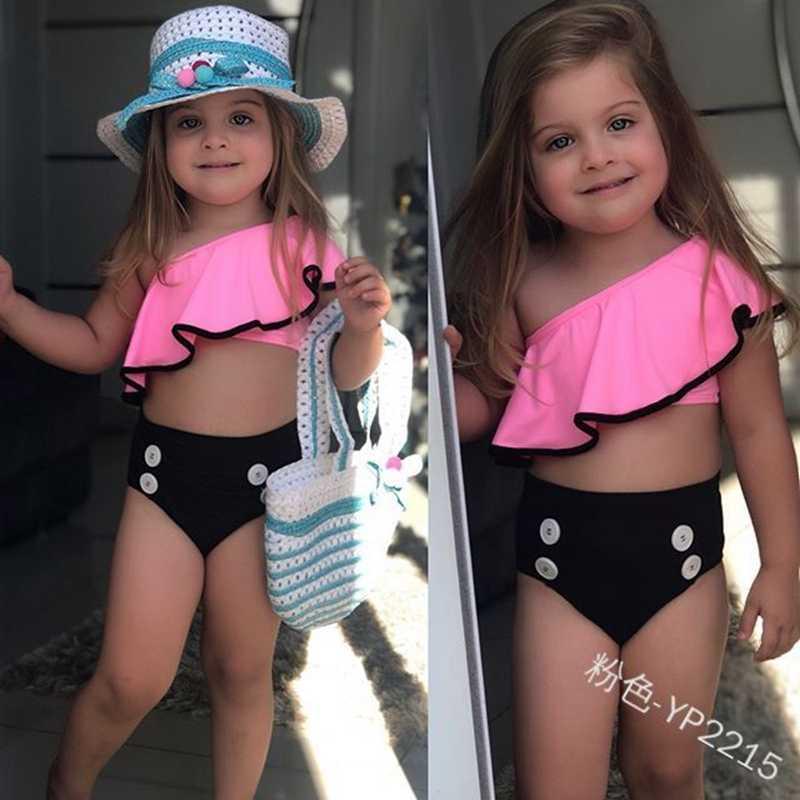 Loozykit/2019 одежда для плавания для маленьких девочек детский купальный костюм из двух предметов для водных видов спорта пляжный купальный костюм