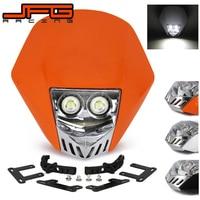 Motorcycle Led Double Dual Light Bulb Headlamp Motorcycle Dirt Bike Supermoto Headlight For KTM KAWASAKI ZUSUKI HONDA Universal
