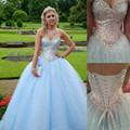 Lantejoulas e Cristais 2016 Azul Bebê Barato Vestidos Quinceanera Doce 15 Dresses Vestidos Debutantes 15 Años Sweet 16 Vestidos de Baile