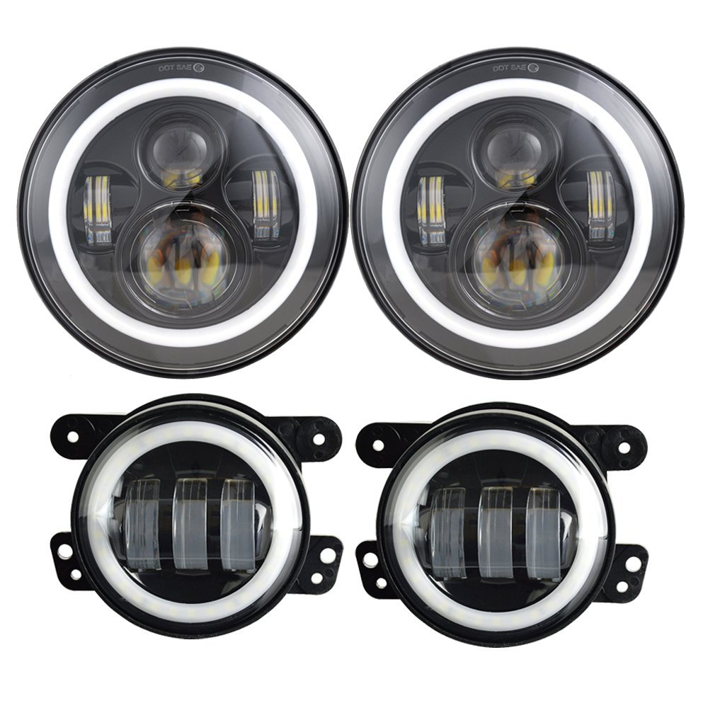 Car 7 inch Headlights LED Angel eyes Halo Ring +4 inch Projector LED Auxiliary Angel eyes fog Lamp White DRL For Jeep Wrangler hot selling 360 degree cob led devil eyes headlights demon eye for 3 0 inch car headlight projector lens ring car styling