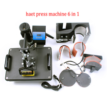 New 30*38CM 6 in 1 Combo Heat Press Machine Thermal Transfer Machine Sublimation Machine for Cap Mug Plates T-shirts Printing