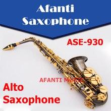 Afanti музыка Eb латунь корпус черный никель золото альт саксофон(ASE-930