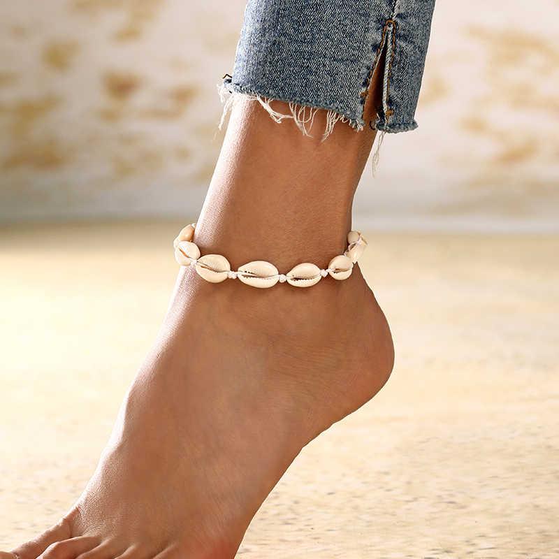 XIYANIKE muszla Anklet dla kobiet biżuteria na stopy Summer Beach bransoletka boso kostki na pasek na nogę czeski biżuteria akcesoria