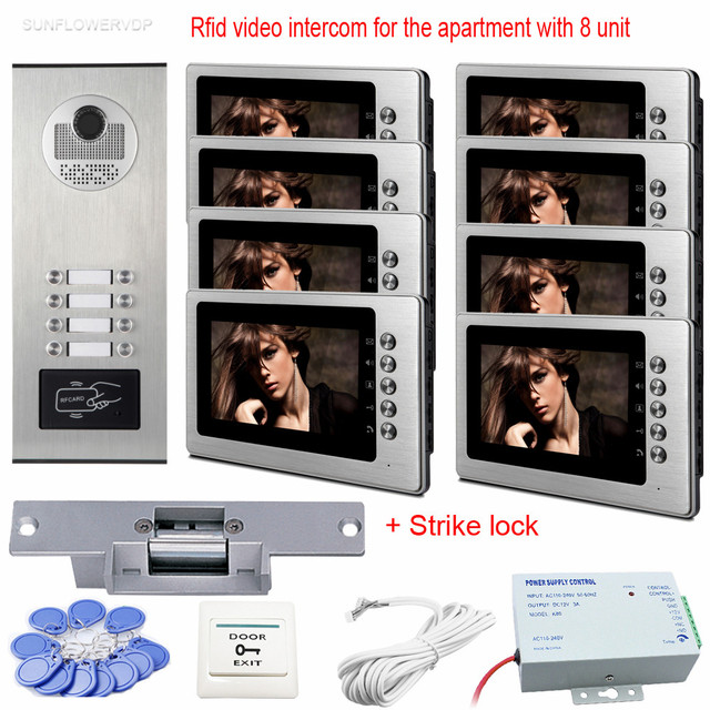 """Rfid Video Call On The Door Of The Apartment 8 Units Wired Home Video Intercom 7"""" Color White Monitors Video Call With Door Lock"""