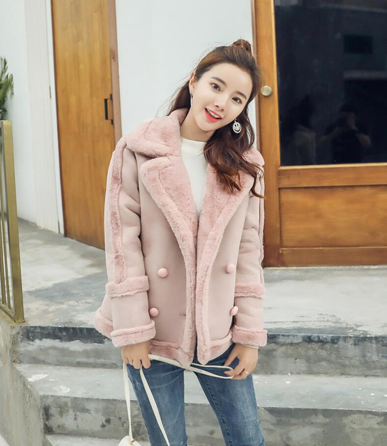 Femmes Automne Épais De Chaud Veste Manteau Et Nouveau Survêtement Laine D'agneau 2018 Pink Coréenne Femelle R377 D'hiver Daim khaki En IqwxZX7cA5