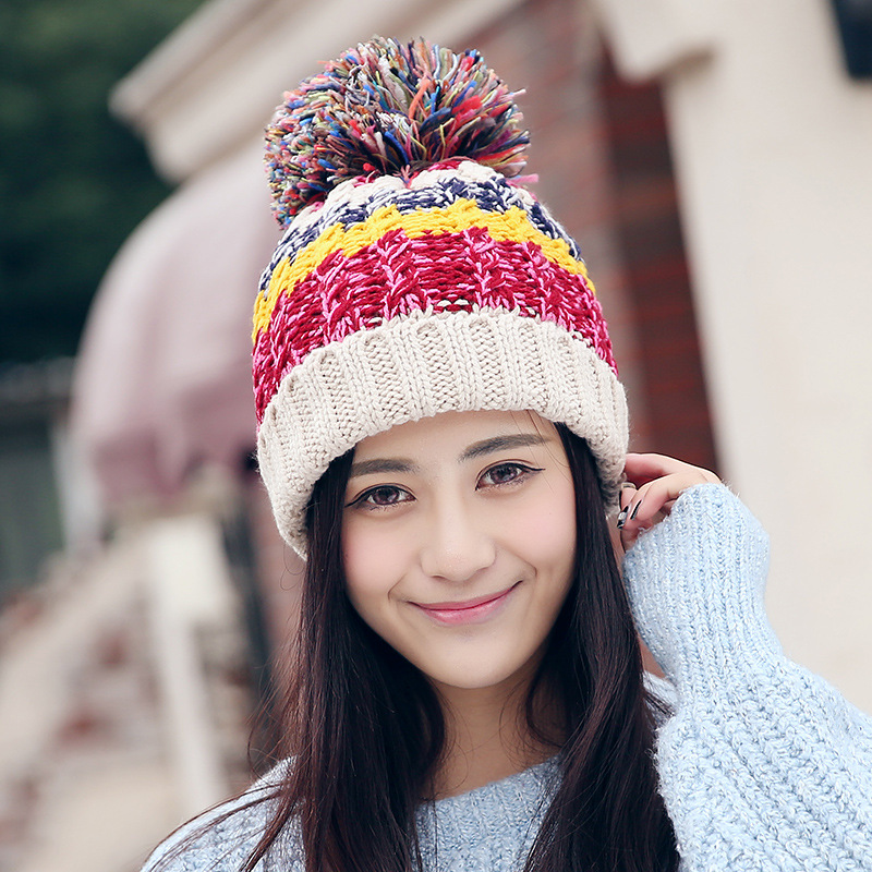 New Pom Poms Women Winter Hats Casual Beanies Fashion Crochet Knitting Hat Brand Thick Female Cap Hat Bone Feminino Wholesale 2017 new fashion autumn and winter wool leaves hollow out knitting hat thick female cap hats for girls women s hats female cap