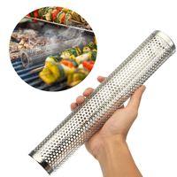 Round BBQ Grill Hot Cold Smoking Mesh Tube Smoke Generator Stainless Steel Smoker Wood Pellet Kitchen