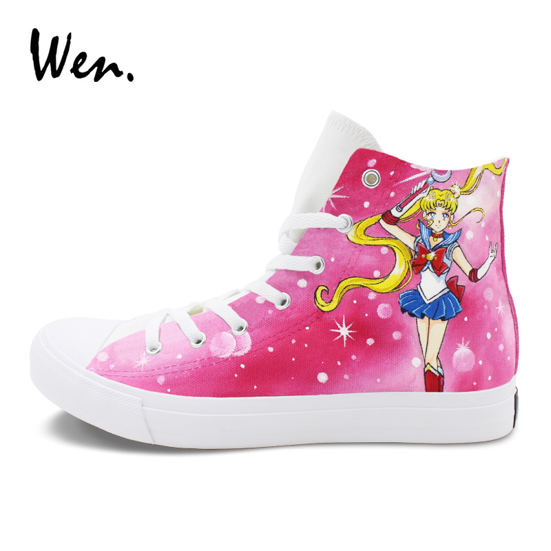 Wen Men Women Sneakers Anime Design Sailor Moon Pink Hand Painted Canvas Shoes Sport Plimsolls Athletic High Top Cosplay Flat wen design custom hand painted anime shoes grimgar of fantasy and ash high top women canvas sneakers men athletic skate shoes