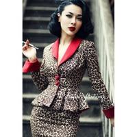 Le Palais Винтаж элегантные ретро пикантные леопардовые контрастного цвета талии пальто юбка-карандаш костюмы/комплекты узкие скольжения
