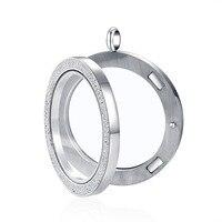 Medallón de cristal de arcilla checa de 39mm de acero inoxidable, colgante de cristal, cadena flotante, regalo de Navidad para madre, 10 Uds.