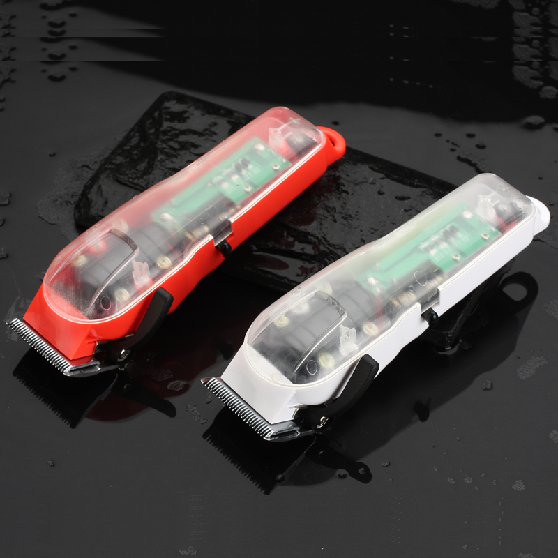 2019 WAMRK Limited Edition Transparent Cover Professional Rechargeable Clippper Hair Trimmer With Red Base Or White Base