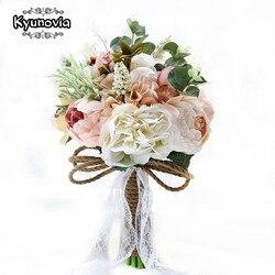 Kyunovia جديد كاميليا الزفاف باقة النباتات باقة فلوريس هدية الرباط مقبض تذكار باقة حديقة موضوع الزفاف الزهور FE40