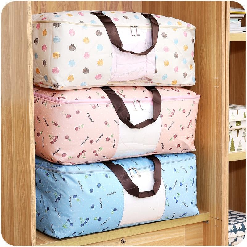 पोर्टेबल वस्त्र आयोजक ऑक्सफोर्ड कपड़े भंडारण बॉक्स रजाई Duvet संग्रहण बिन अंडरवीयर भंडारण बक्से आयोजक