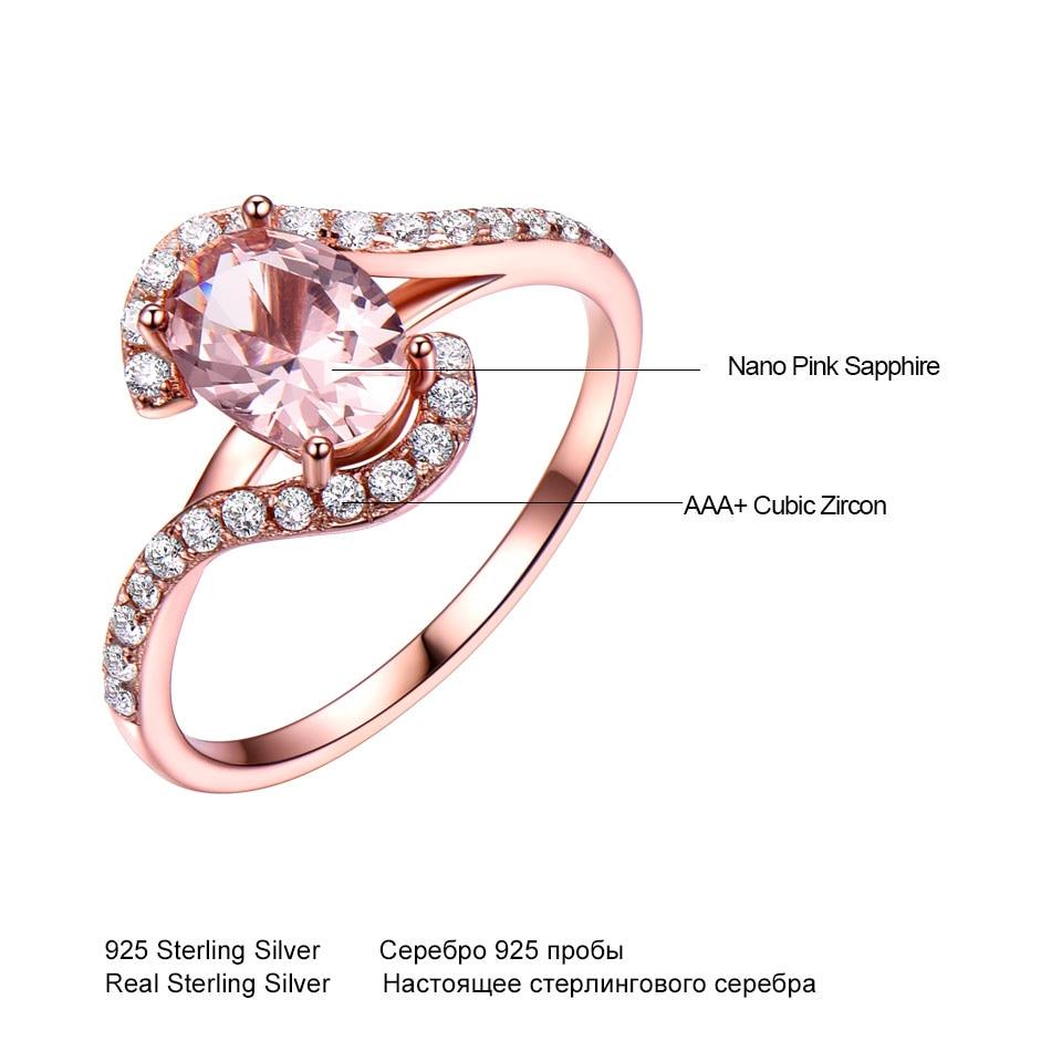 Umcho perak 925 pink sapphire rings untuk wanita engagement partai - Perhiasan bagus - Foto 4