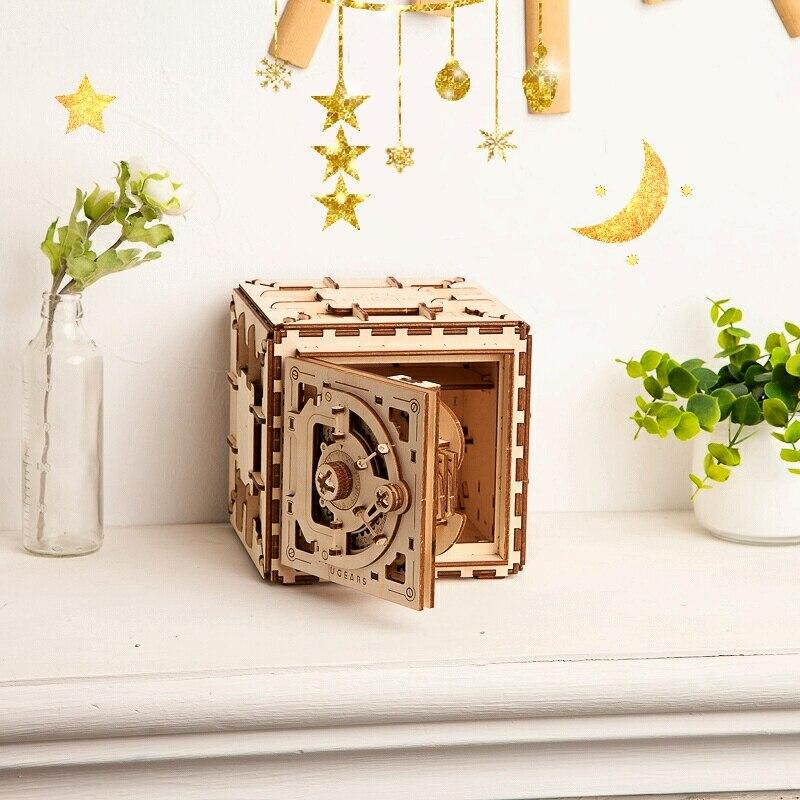 Livraison gratuite UGEARS mot de passe boîte 3D Puzzles mécanique en bois modèle créatif cadeau d'anniversaire fait à la main bricolage assemblé jouets