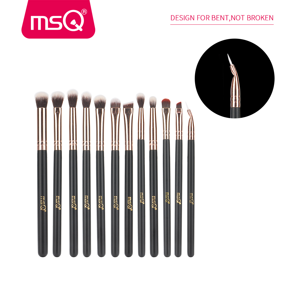 MSQ 12st Eyeshadow Makeup børster Set pincel maquiagem Pro Rose Gold - Makeup - Foto 2