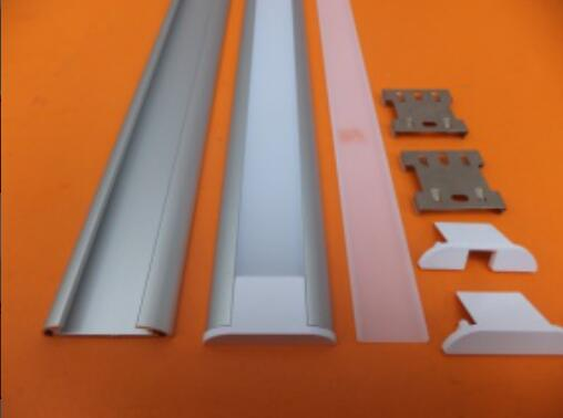 Free shipping Factory Price Flat Shape aluminum profile for led strip,milkytransparent cover with fittings 2.5MPCS 30PCSLOT