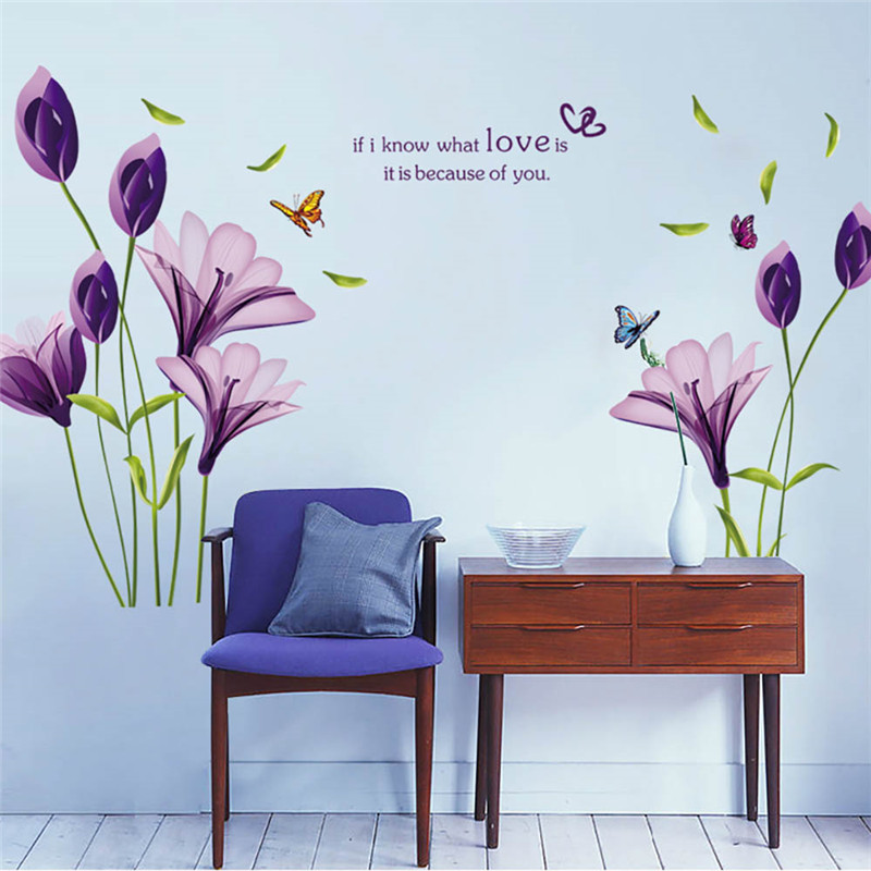 Purple Pollen Removable Wall Art Decal Sticker Diy Home: DIY Removable Romantic Purple Lily Flower Wallpaper PVC 3D
