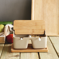 Japan Style Rough Pottery Seasoning Can Sets with Spoons Bamboo Cover and Tray Creative Spice/Herb Tools Salt Pigs Kitchen Tool