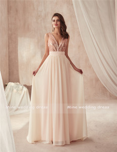Image 2 - V neck Champagne Sequin and Chiffon Bridesmaid Dress with Huge Bow Back Open Back Wedding Party Dresses