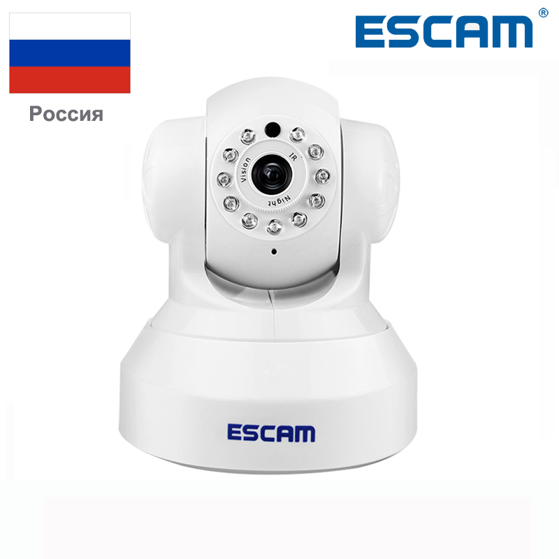 ESCAM Wireless 720P pan/tilt wifi security ip camera QF001 support 32G TF card IR-CUT 10M Security Network Camera Night Vision