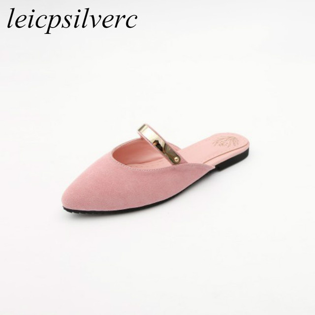 24b2a026a6fbbe Women s Slippers Summer Spring Flat Shoes 2018 Fashion New Sexy Outside  Casual Slides Flock Metal Pointed Toe Sandals Pink Black