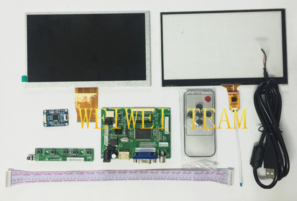 1024 600 IPS Screen Display LCD TFT Monitor touch screen with Remote Driver Control Board 2AV