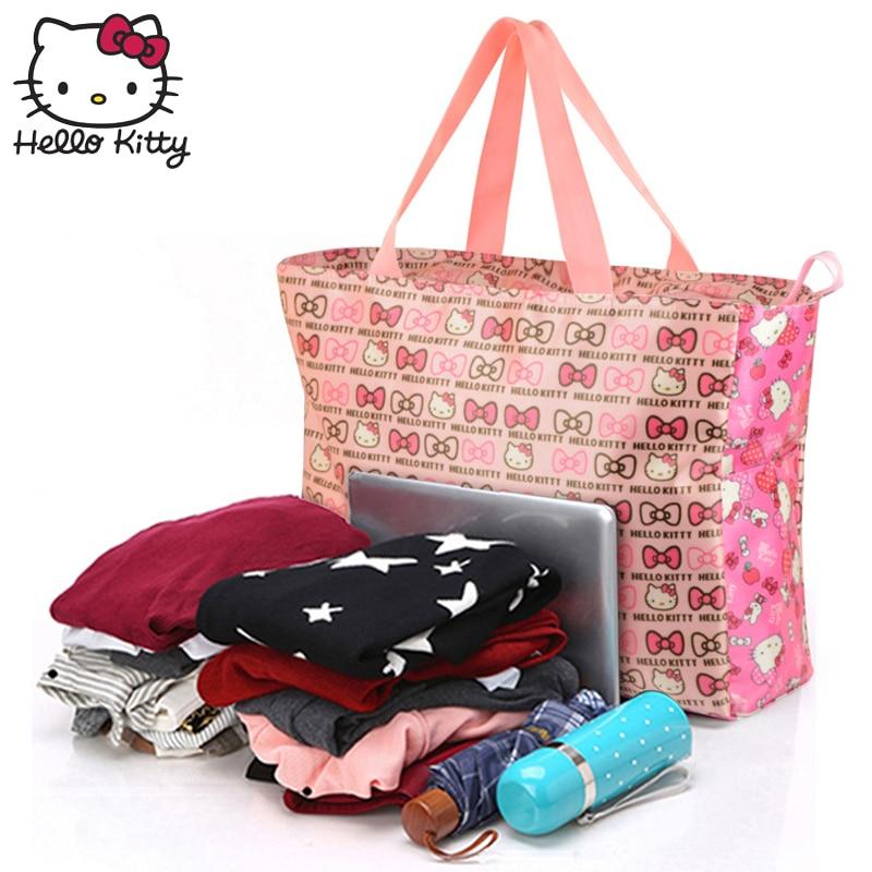 Hello Kitty 2019 mode sac sacs à main maman unique épaule diagonale sac belle filles Shopping Nylon Portable en peluche sac à dos KT - 3