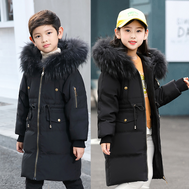 2018 New Winter Children Down Jackets Girls Thickened Warm Outerwear Coats Big Fur Hooded Boys Long Jacket 5 6 8 10 12 14 Years 2018 new winter coats for girls jacket hooded kids outerwear thick warm children down long jackets for girls coat 10 12 14 years