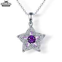 DELIEY 100 Real925 Sterling Silver Natural Purple Amethyst Star Necklace Pendant For Women Wedding Party Fine