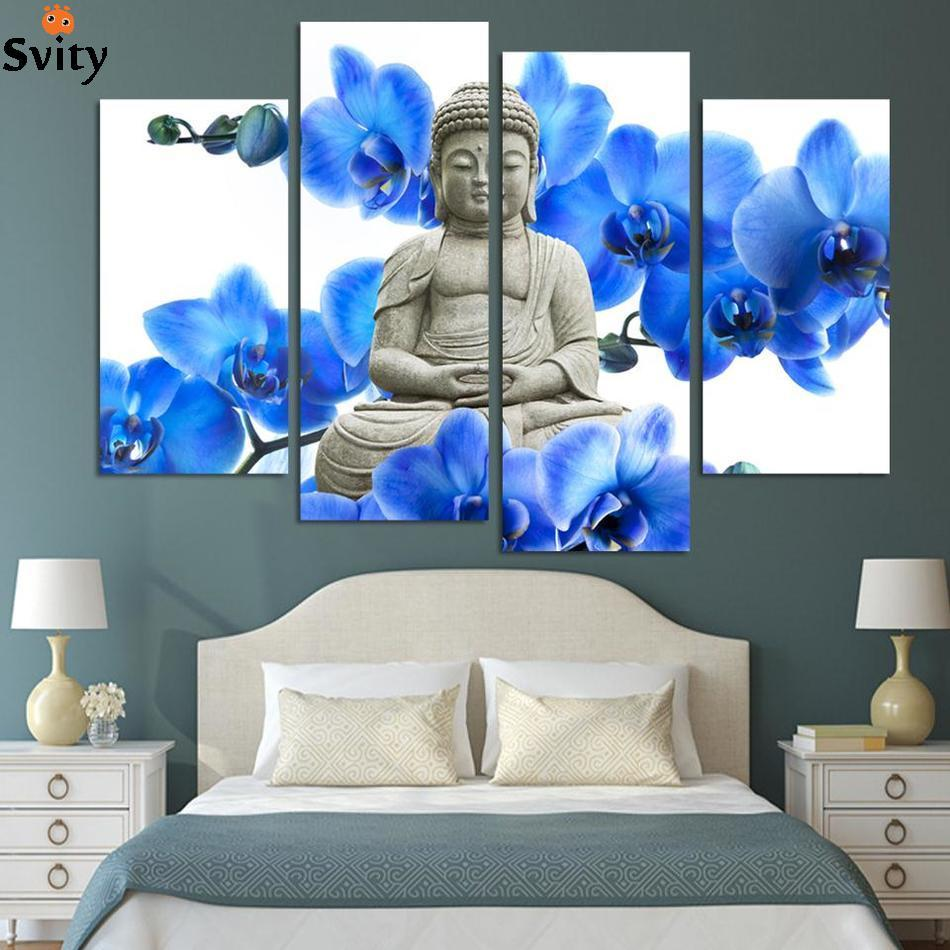 Free Shipping 4 Pieces Hot Sell Modern Wall Painting Buddha The Buddha Face Home Decor Art