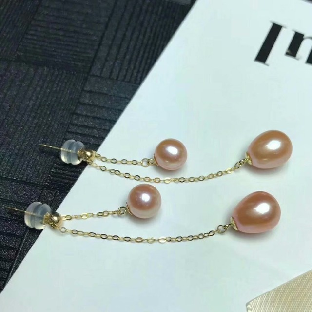 shilovem 18k yellow gold Natural freshwater pearls Drop Earrings fine Jewelry women trendy anniversary Christmas gift mym6699zz 2
