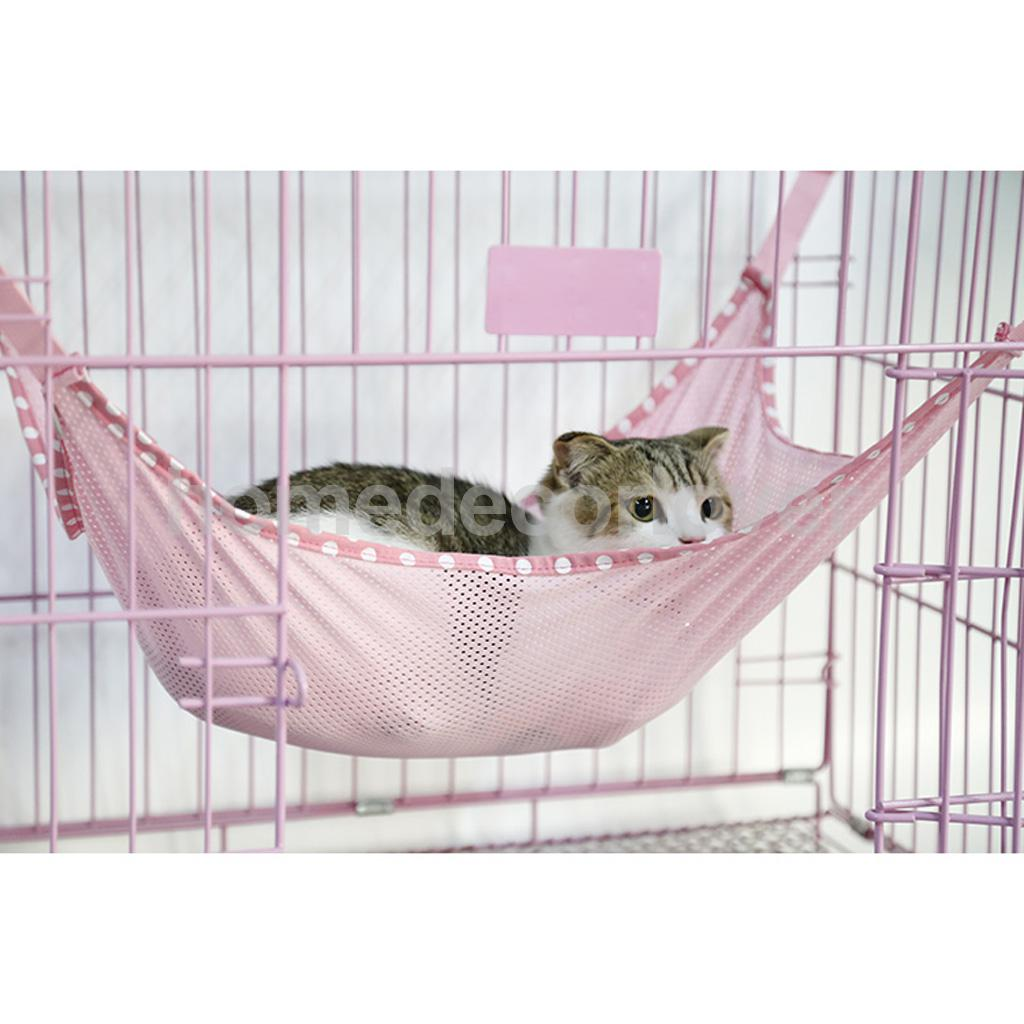 Mesh Cat Cage Hammock Small Pet Dog Puppy Bed Cover Bag Blankets Honden Ferret Cage Pink L