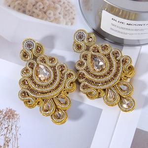 Image 4 - KPacTa Fashion Soutache Earring Ethnic Style Jewelry Women Crystal Handmade Drop Earring Accessories boucle doreille femme 2018