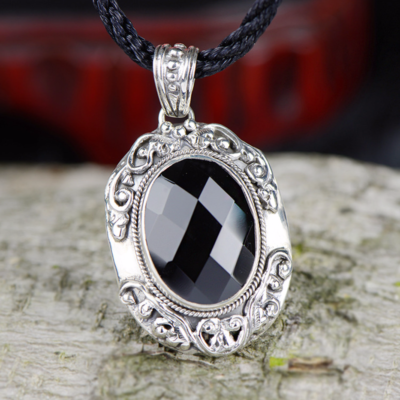 Genuine 925 Sterling Silver Black Agate Pendant For Women With Natural Stones Gothic Antique Pendant Charm