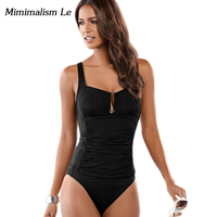 Minimalism Le 2017 New Sexy Bikini Patchwork Women Swimwear Black Deep V Tankini Set Solid Swimsuit