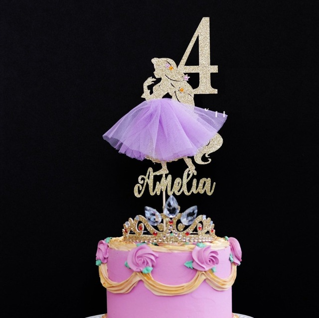 Personalize Any Name Age Glitter Princess Girls Birthday Cake Topper Centerpiece Decorations
