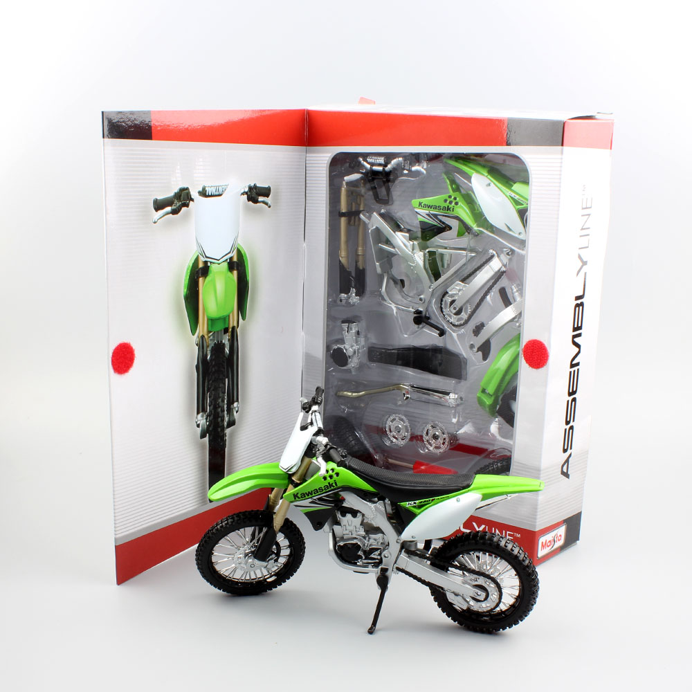 1:12 Scale Maisto Kids Kawasaki KX 450F Assembly Line Motorcycle Model Metal Motor Bike Diecast Off Road Dirt Car Gifts DIY Toys
