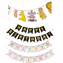 1 Set Multi Themes Happy Birthday Bunting Baby Shower Party Decorations Kids Photo Booth Banner Flags