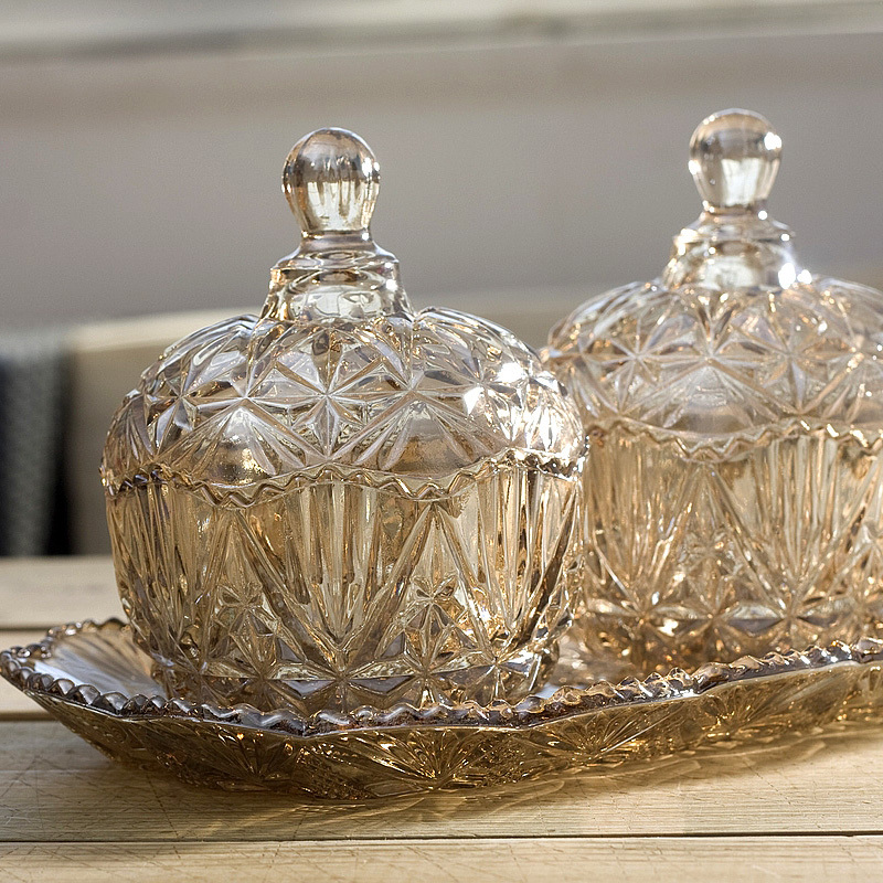 Finest Crystal glass candy jar dried fruit boxes decorative storage  CX29