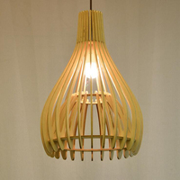 Modern minimalist personality wood creative double solid wood cage living room chandelier villa lamp lighting bird cage lamp