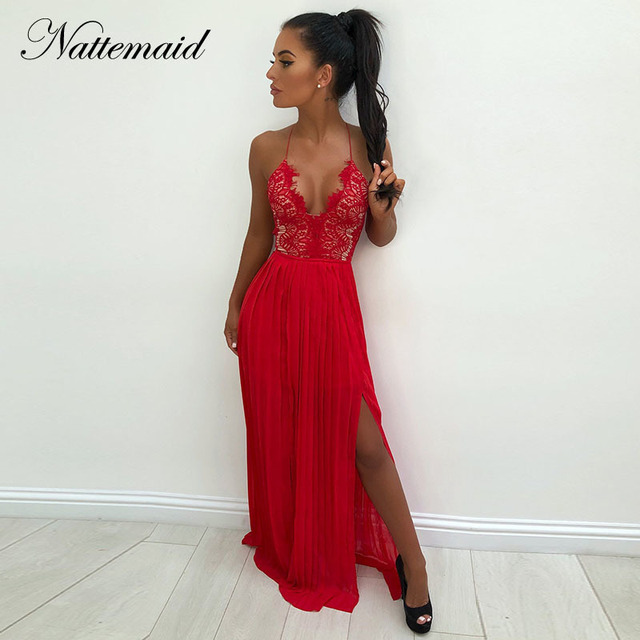 NATTEMAID Pleated Dress Female White Red Elegant Maxi Long Dress Lace  Hollow Out Halter Split Sexy ebccd63c44eb