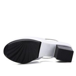 Image 4 - STQ 2020 קיץ נשים שטוח פלטפורמת שקופיות נעלי סנדלי נעליים להחליק על בוהן פתוח לבן אמיתי עור עקב גבוהה סנדלי 878