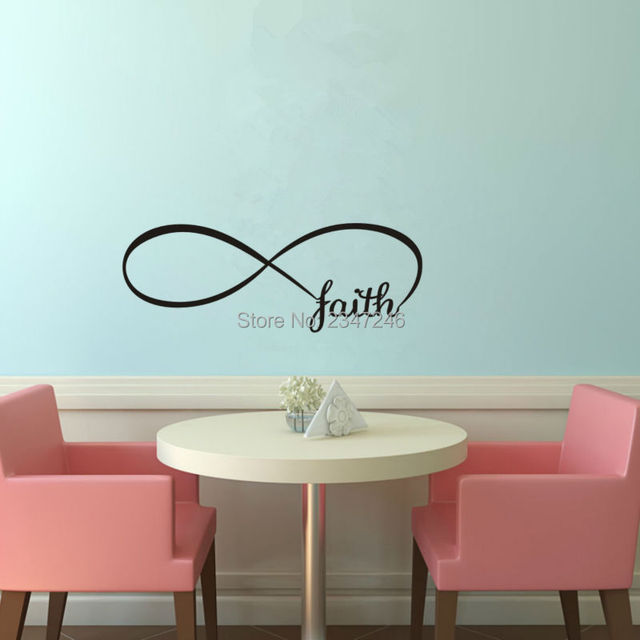 Infinity symbol wall decal faith art lettering vinyl sticker for room decoration