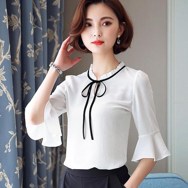 034ad4b181 2017 verano Mujer chiffon camisa suelta color sólido cuello redondo Mujer  elegante camisa media manga blanco