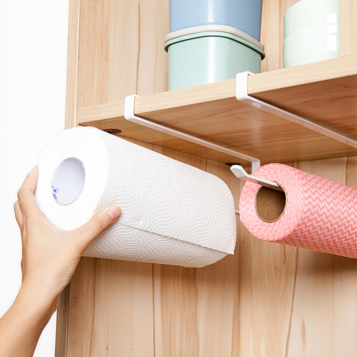 Kitchen hand towel holder - Roll Paper Holder Towel Rack Wall Mounted Kitchen Cupboard Toilet Bathroom Paper Holder Towel Rack Hand