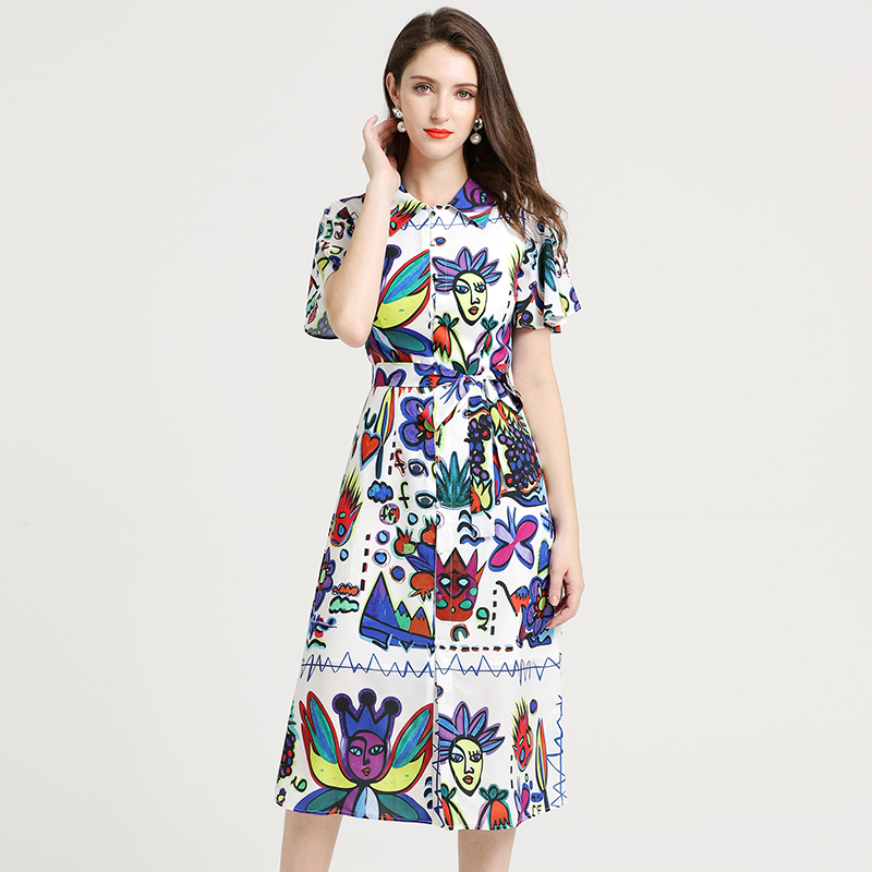 2019 Summer Pretty Print Women Dress High Quality Fashion Short Sleeve Turn down Collar Female Slim